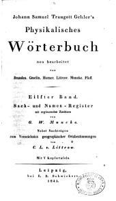 Johann Samuel Traugott Gehler's Physikalisches Worterbuch: 11: Sach und Namen, Register, Band 11