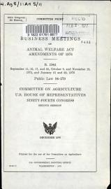 Business Meetings On Animal Welfare Act Amendments Of 1976