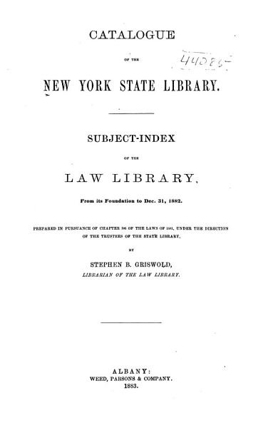 Download Catalogue of the New York State Library Book