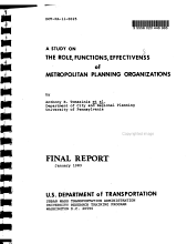 A Study on the Role  Functions    Effectiveness of Metropolitan Planning Organizations PDF