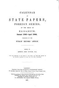 Calendar of State Papers  Foreign Series  of the Reign of Elizabeth  Jan June  1583   addenda PDF