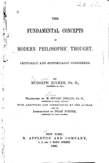 The Fundamental Concepts of Modern Philosophic Thought Critically and Historically Considered PDF