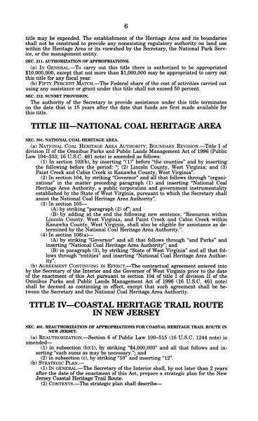 National Heritage Areas Act