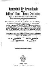 Monatsschrift für Ohrenheilkunde und Laryngo-Rhinologie: Band 39