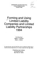 Forming and Using Limited Liability Companies and Limited Liability Partnerships PDF