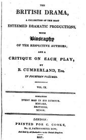 Comedy of Every Man in His Humour Altered from Ben Jonson with the Biography of the Author and a Critique by Richard Cumberland: Volume 9