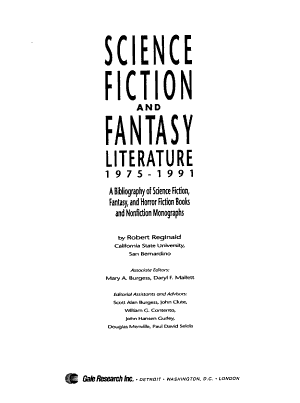 Science Fiction and Fantasy Literature  1975 1991 PDF
