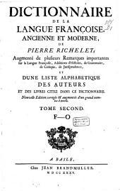 Dictionnaire de la langue françoise ancienne et moderne: Volume2