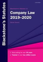 Blackstone s Statutes on Company Law 2019 2020 PDF