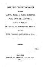 Breves observaciones sobre la nota pasada á varios gabinetes por los de Austria, Rusia y Prusia de resultas del Congreso de Troppau