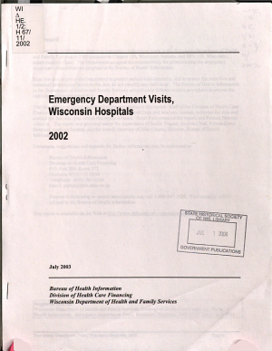 Emergency Department Visits  Wisconsin Hospitals PDF