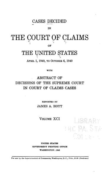 Cases Decided in the United States Court of Claims