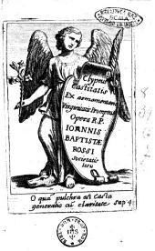 Clypeus castitatis ex armamentario virginitatis promptus Opera R.P. Ioannis Baptistae Rossi Societatis Iesu