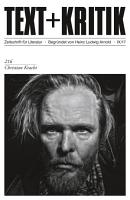 TEXT KRITIK 216   Christian Kracht PDF