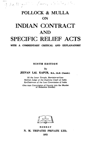 Pollock   Mulla on Indian Contract and Specific Relief Acts PDF