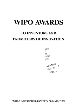 WIPO Awards to Inventors and Promoters of Innovation PDF