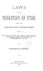 Laws of the Territory of Utah Passed by the Legislative Assembly: Volume 28