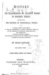 History of the Transmission of Ancient Books to Modern Times; ...