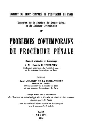 Probl  mes contemporains de proc  dure p  nale PDF