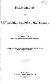 Etudes critiques sur l'evangile selon St. Matthieu