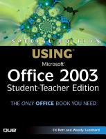 Special Edition Using Microsoft Office 2003  Student Teacher Edition PDF