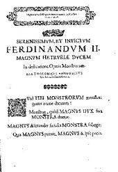 Vlissis Aldrovandi ... Monstrorum historia, cum Paralipomenis historiae omnium animalium