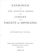 Catalogue Of The Printed Books In The Library Of The Faculty Of Advocates Finished By Jon A Hjaltalin And T H Jamieson