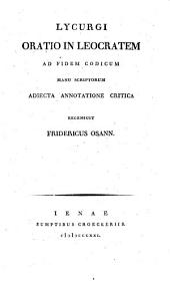 Lycurgi oratio in Leocratem, adjecta annotatione critica, recens. F. Osann