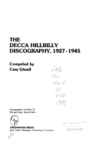 The Decca Hillbilly Discography, 1927-1945
