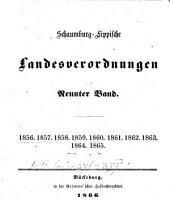 Schaumburg-Lippische Landesverordnungen: Band 9