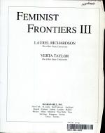Feminist Frontiers III PDF