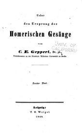 Ueber den Ursprung der Homerischen Gesänge: Band 2