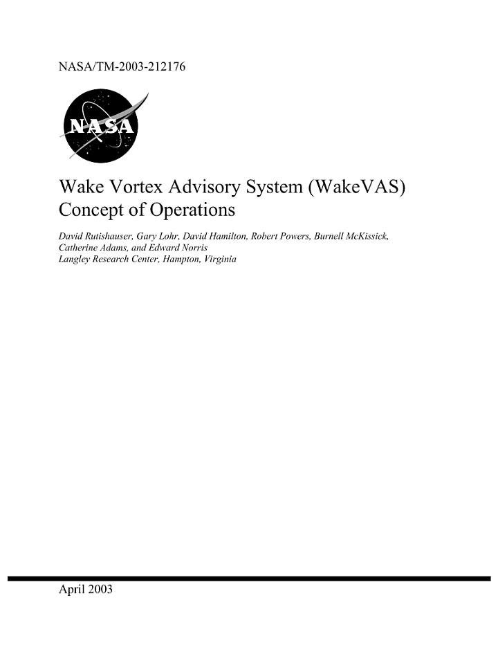 Wake vortex advisory system (Wake VAS) concept of operations