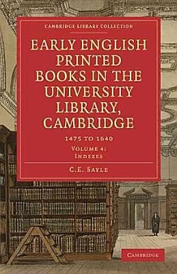 Early English Printed Books in the University Library  Cambridge PDF