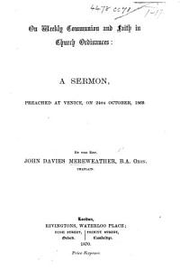 On Weekly Communion and Faith in Church Ordinances  a sermon  on 1 John iv  1  preached at Venice  on 24th October 1869 PDF
