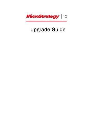 Upgrade Guide for MicroStrategy 10 PDF