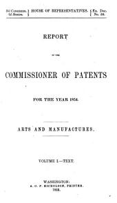 Annual Report of the Commissioner of Patents: Part 1