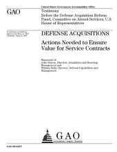 Defense Acquisitions: Actions Needed to Ensure Value for Service Contracts: Congressional Testimony