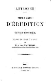 Mélanges d'érudition et de critique historique