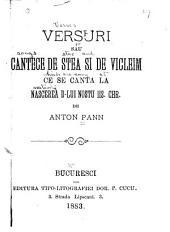 Versuri sau cântece de steasi de vicleim ce se canta la nascerea D-lui Nostu Iis. Chr