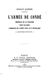 L'armée de Condé: mémorial de la trahison pour éclairer l'annuaire de l'armée sous la 3e république