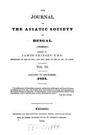 Journal of the Asiatic Society of Bengal: Volume 3
