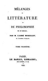 Mélanges de littérature et de philosophie du 18e siècle: Volume3
