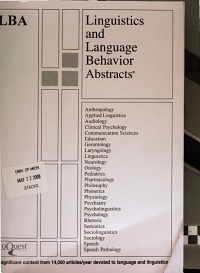 Linguistics and Language Behavior Abstracts PDF