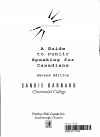 Speaking Our Minds : a Guide to Public Speaking for Canadians Book