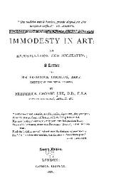 Immodesty in Art: An Expostulation and Suggestion ; a Letter to Sir Frederick Leighton ...