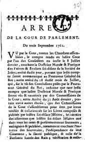Arrest de la cour de Parlement. Du trois septembre 1761