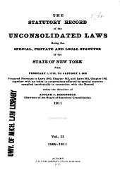 Statutory Record of the Unconsolidated Laws of the State of New York: Part 2