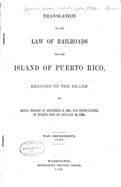 Download Translation of the Law of Railroads for the Island of Puerto Rico Book