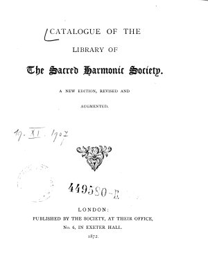 Catalogue of the Library of The Sacred Harmonic Society PDF
